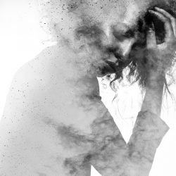 Woman showing signs of stress.