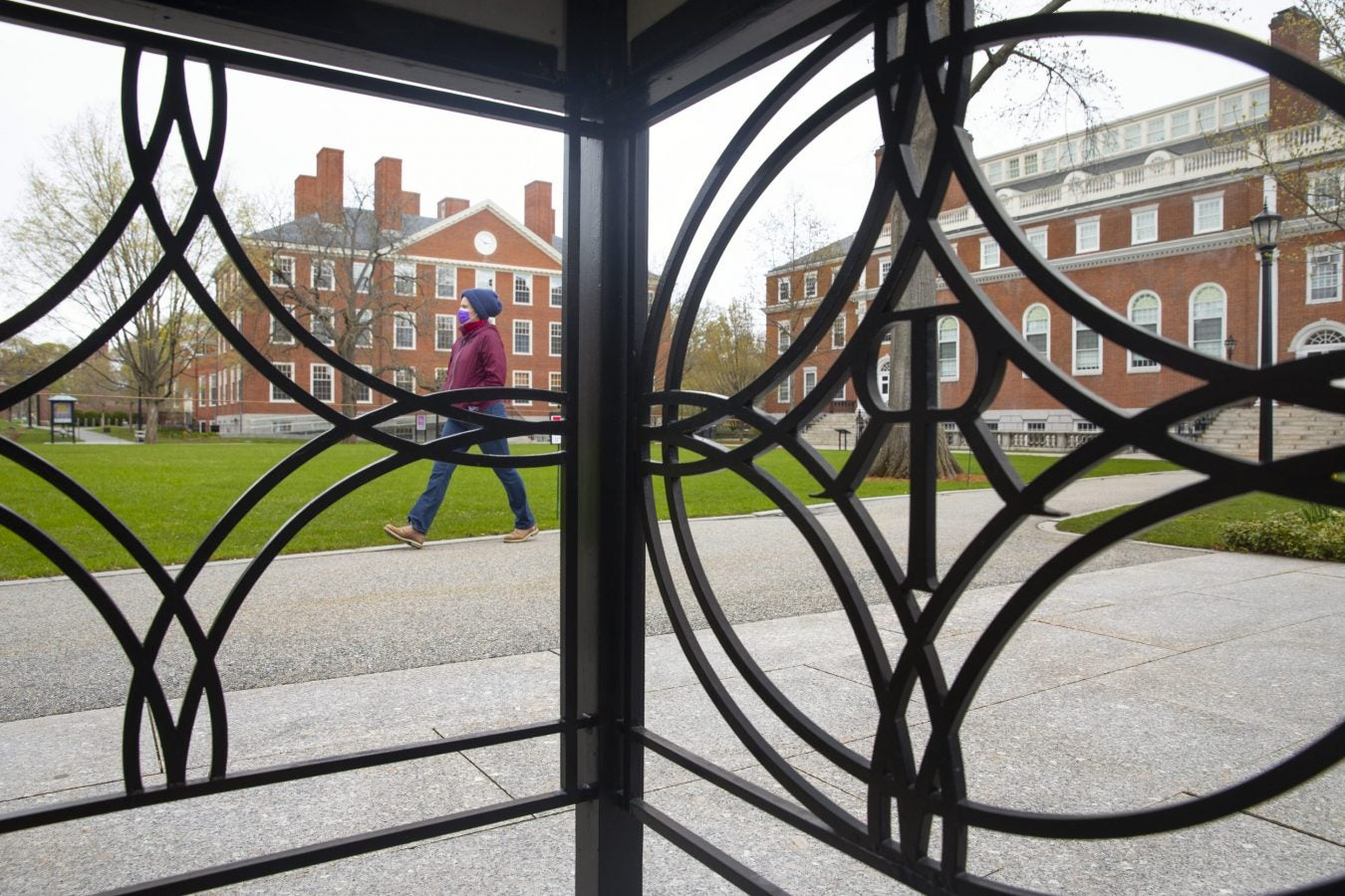 A woman's gait is framed by the iron logo of Radcliffe Institute.