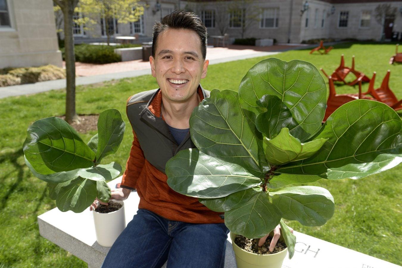 Michael Uy with his plants.