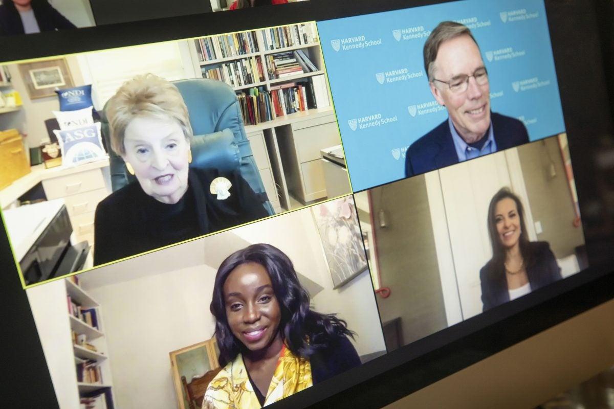 Madeleine Albright, Dina Powell McCormick, Ezinne Uzo-Okoro, and Nicholas Burns on Zoom.