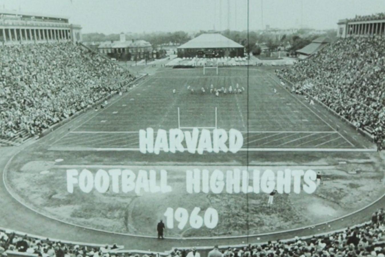a black and white still of the Harvard stadium.