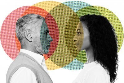 Illustration of two people looking at each other.