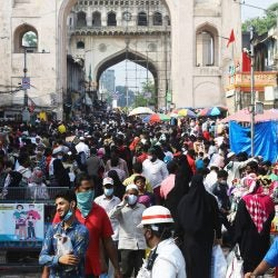 A marketplace on the eve of Eid-al-Fitr in Hyderabad, India.
