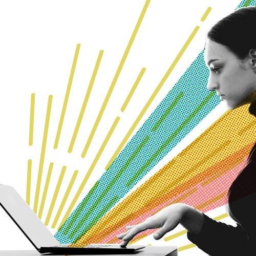 Illustration of woman at computer.