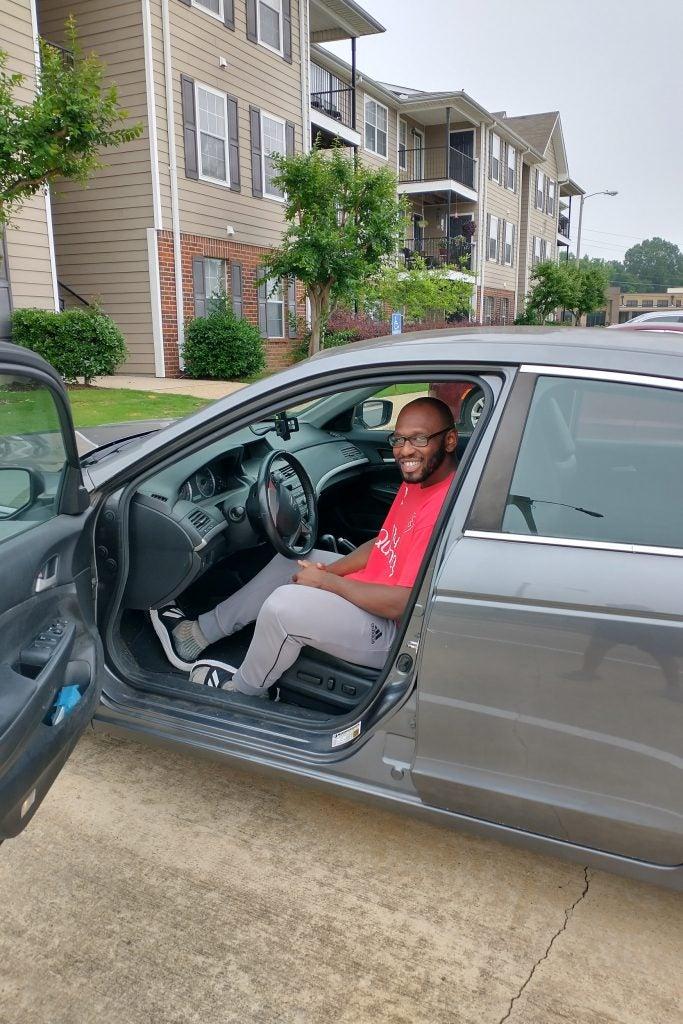 Donald Brown in his car.