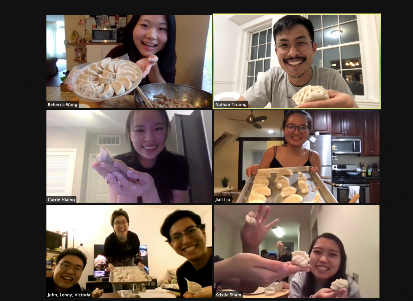 students showing their dumplings on a zoom call