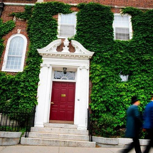Walking through Harvard Yard.