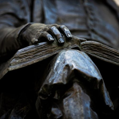 The John Harvard Statue in Harvard Yard.