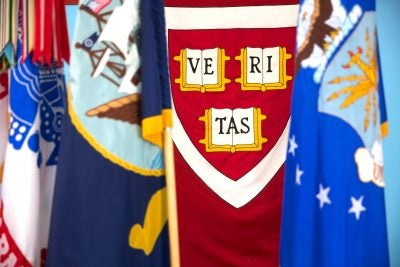 Views of Milltary flags and a Veritas flag.