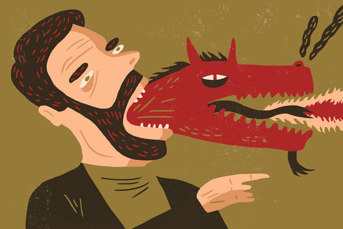 Illustration of a dragon coming out of person's mouth.