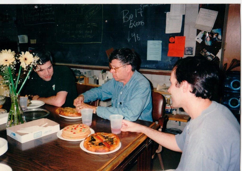 Dick Lewontin with students.