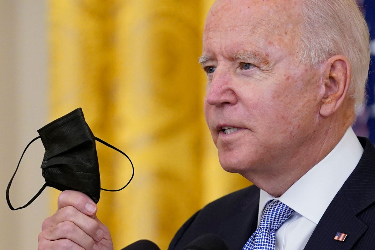 President Biden with a mask.