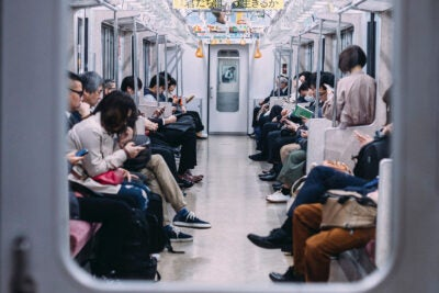 People riding the subway.
