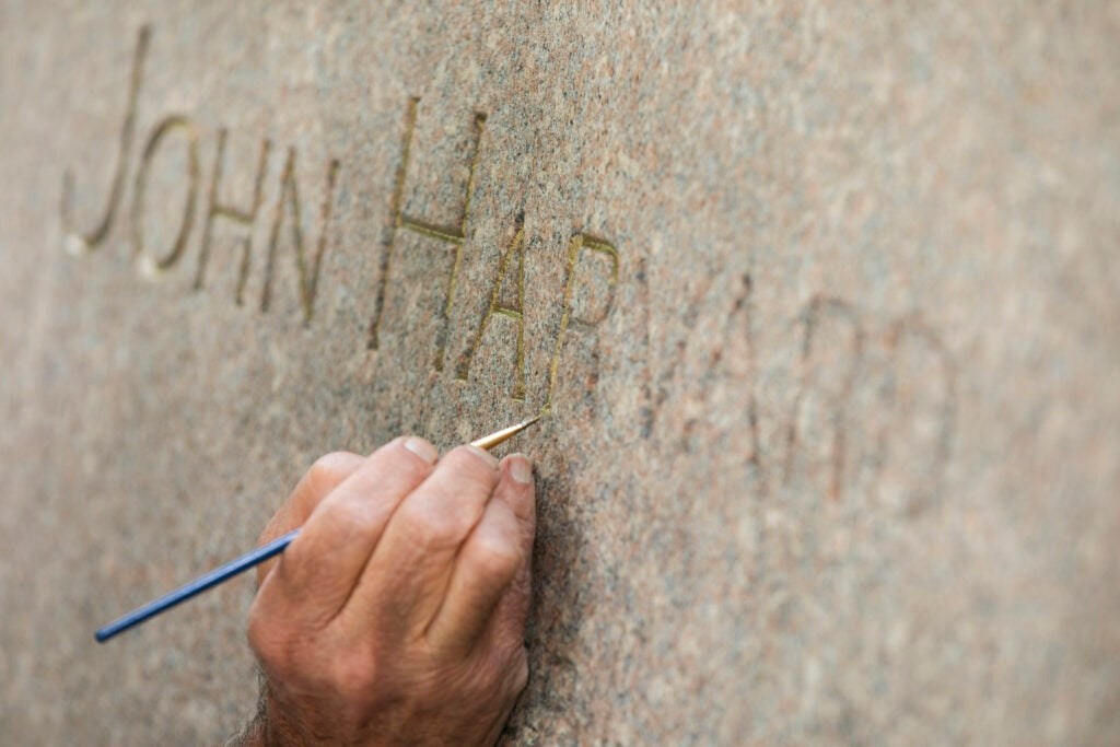 John Harvard engraving.