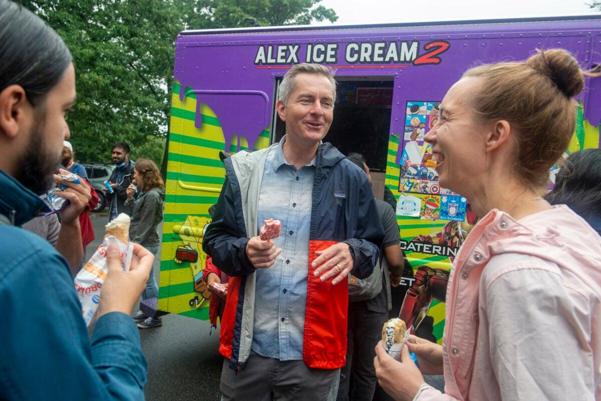 People eating ice cream.