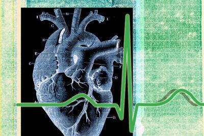 Heart and walker illustration.
