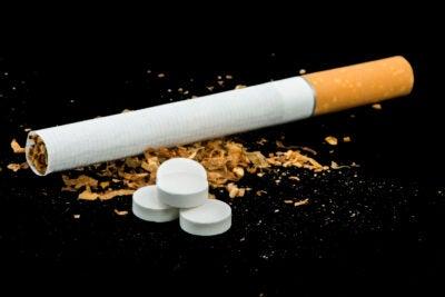 Cigarette, tobacco and pills.