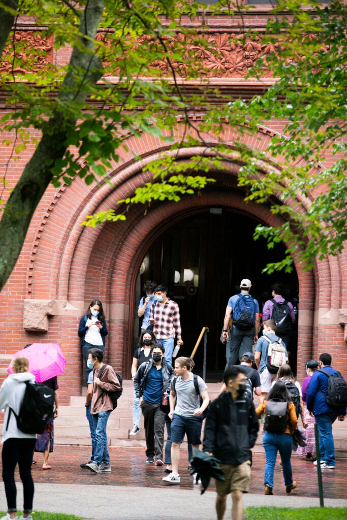 Students pictured outside Sever Hall.