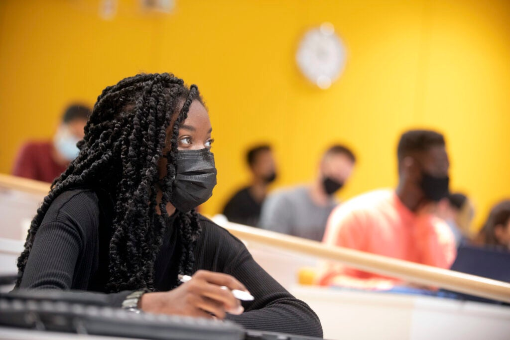 Melissa Jones '24 studies inside The Science and Engineering Complex.