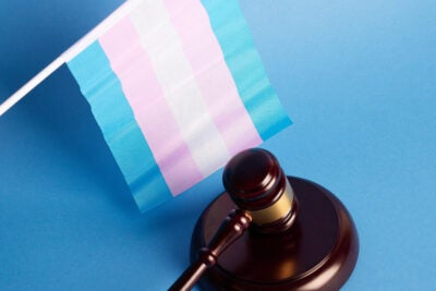 A transgender flag and court gavel.