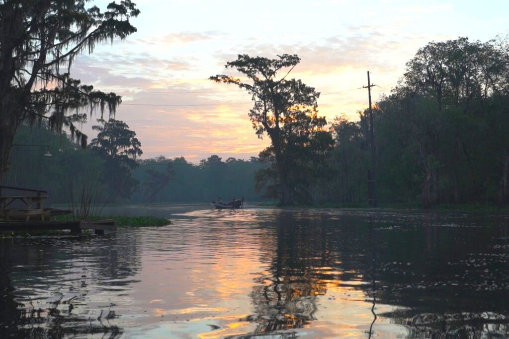 Late dawn on Blind River, London Vallery's ancestral fishing lands, in Central Louisiana.