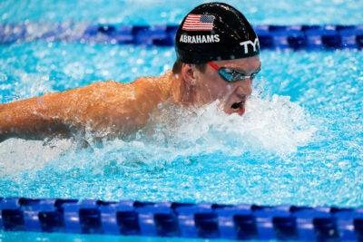 David Abrahams swimming.