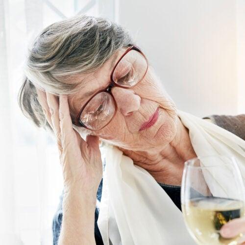 Woman drinking.