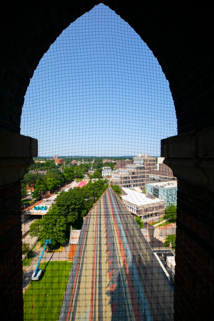 The window of Memorial Hall arches over Science Center Plaza