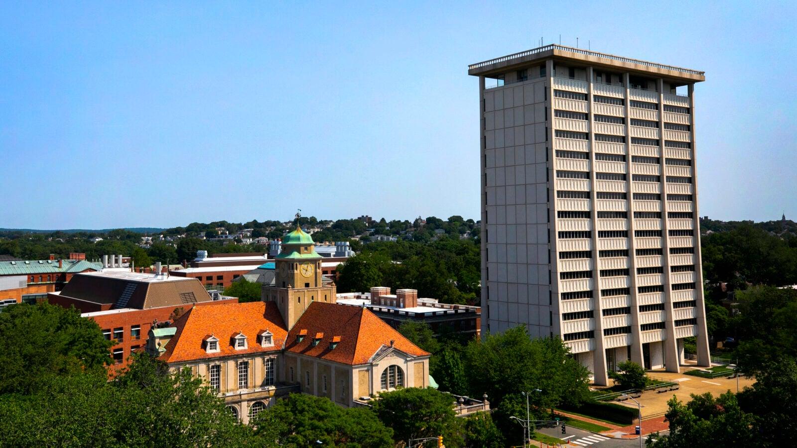 The Minda de Gunzburg Center for European Studies and William James Hall are pictured on Kirkland Street.