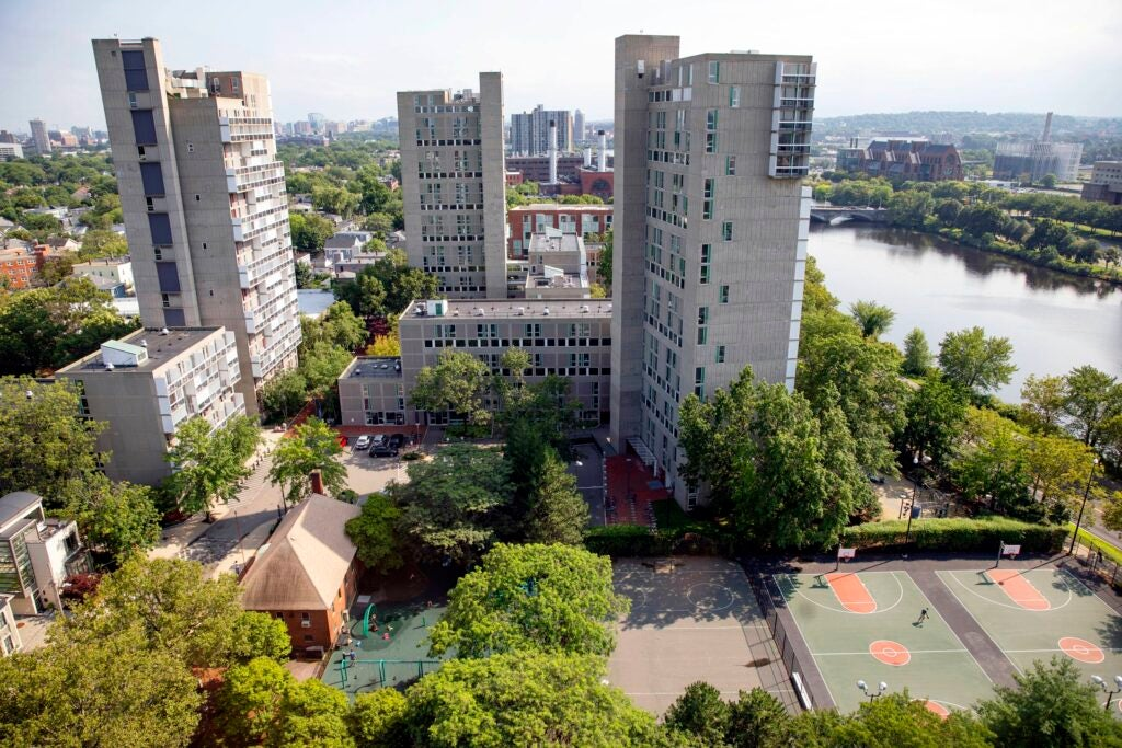 An overview of Peabody Terrace and the Charles River.