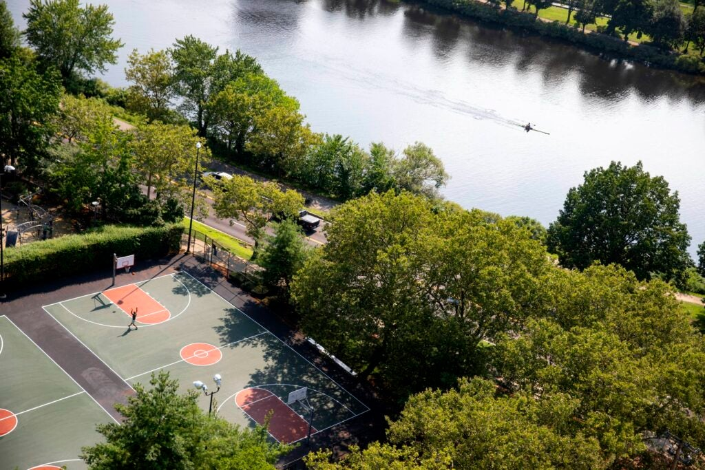 A solitary basketball player and rower are pictured from above.