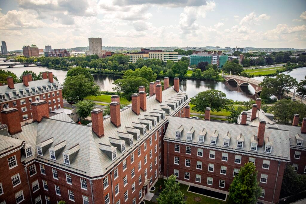 Dunster House sits attractively along the Charles River and the Weeks Footbridge.