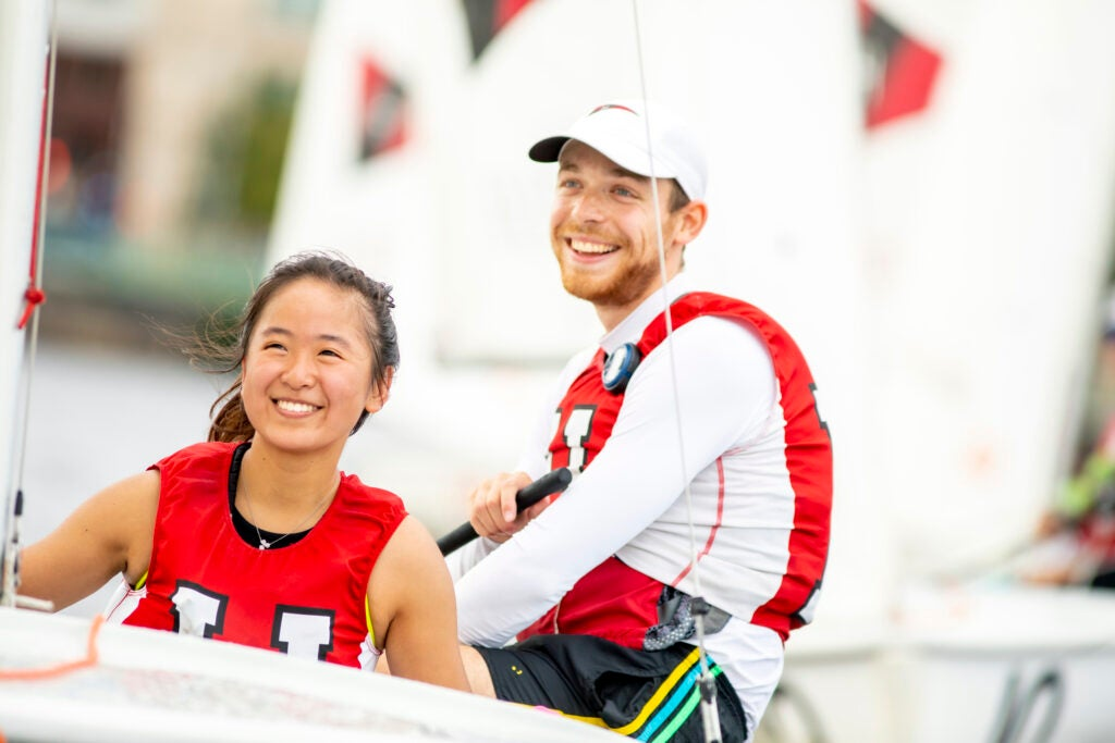Carolyn Wang, an expected December 2023 graduate, with skipper Jonas Nelle '22.