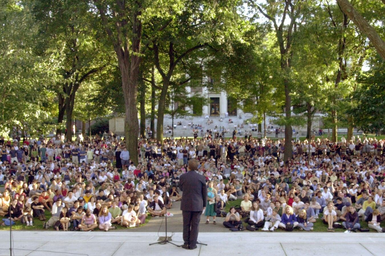 9/11 vigil in Harvard Yard.