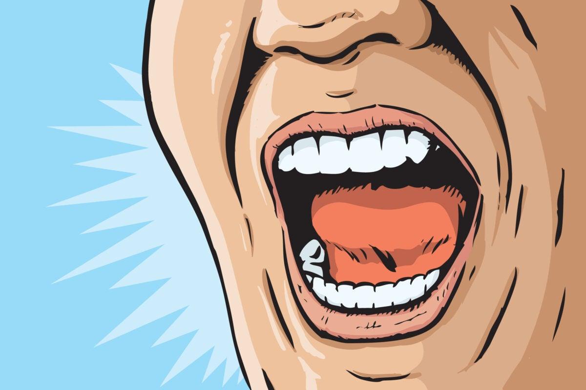 Illustration of person yelling.