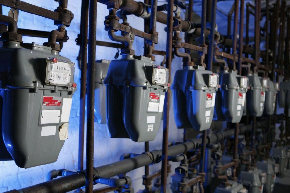 Gas meters.