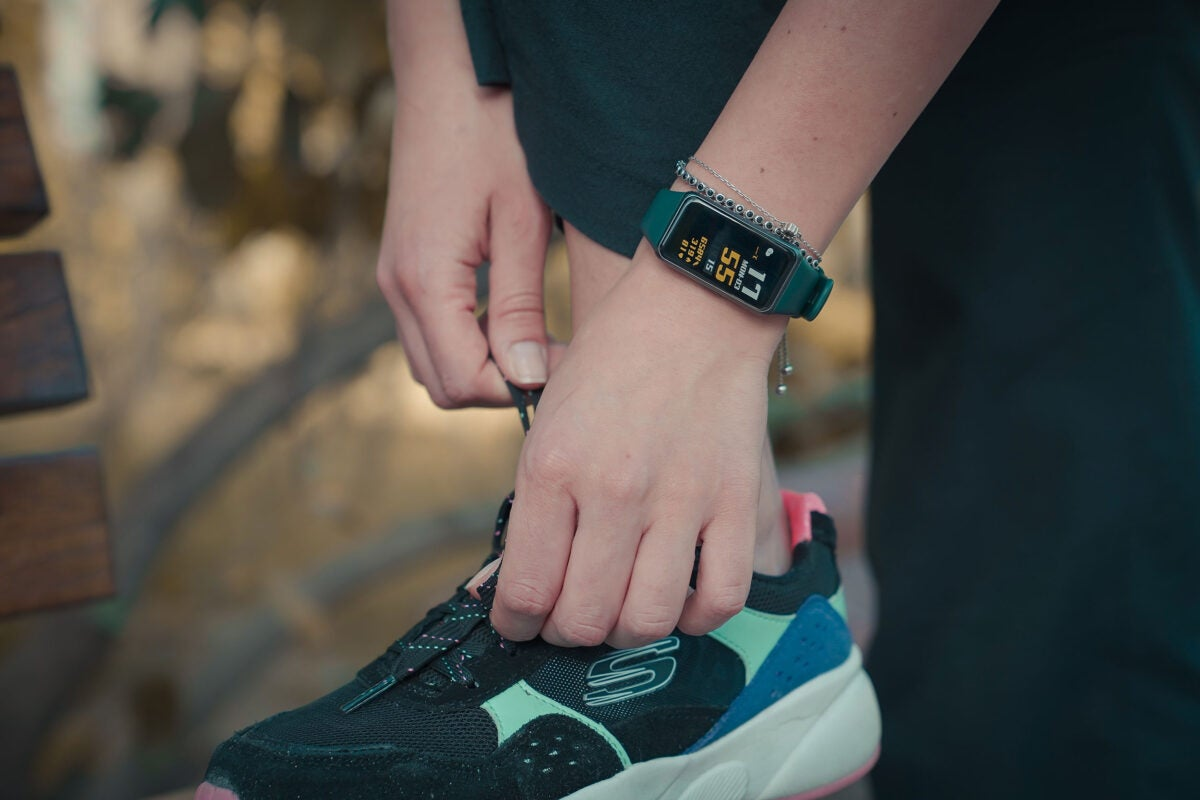 Sneaker and tracker.